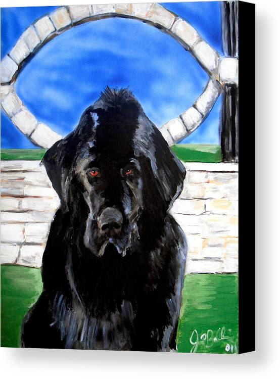 Dog Canvas Print featuring the painting Newfoundland by Jon Baldwin Art
