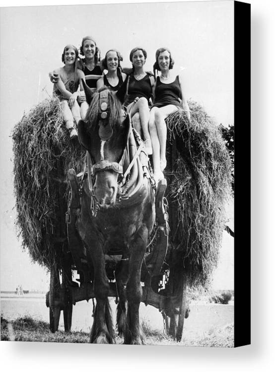 Young Adult Canvas Print featuring the photograph Ride On A Hay Cart by Fox Photos