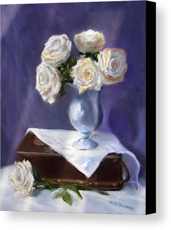 Flowers Canvas Print featuring the painting White Roses In A Silver Vase by Jack Skinner