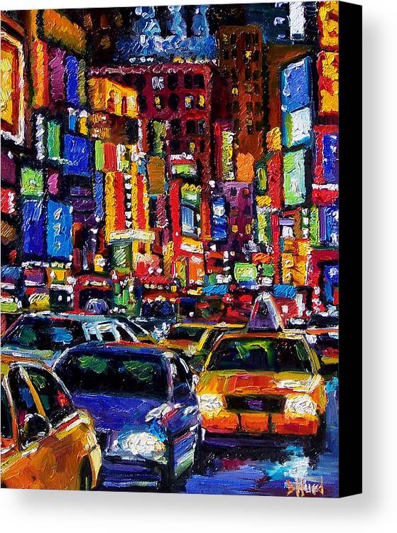 New York City Canvas Print featuring the painting New York City by Debra Hurd