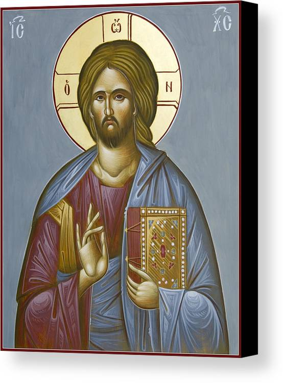 Icon Canvas Print featuring the painting Christ Pantokrator by Julia Bridget Hayes