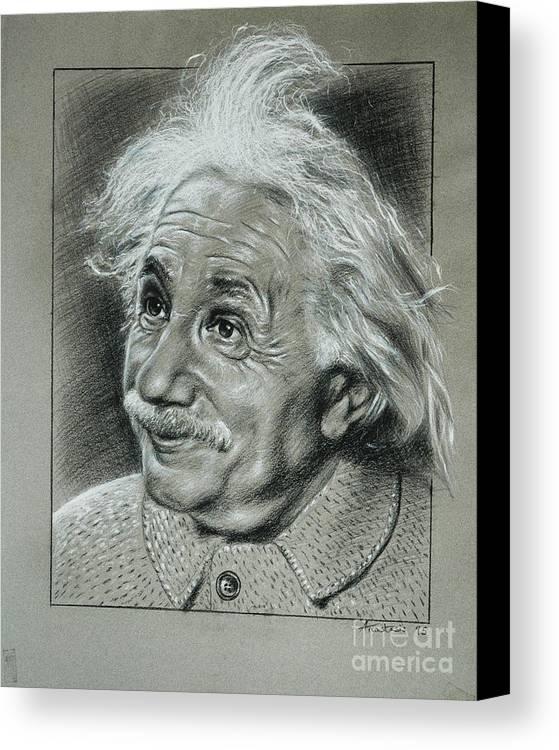 Portrait Of Albert Einstein Canvas Print featuring the painting Albert Einstein by Anastasis Anastasi