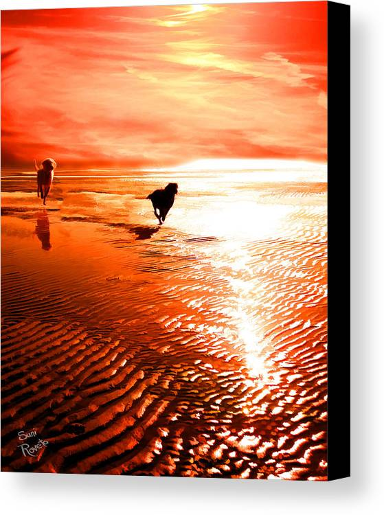 Dog Canvas Print featuring the painting Catch Me If You Can by Suni Roveto