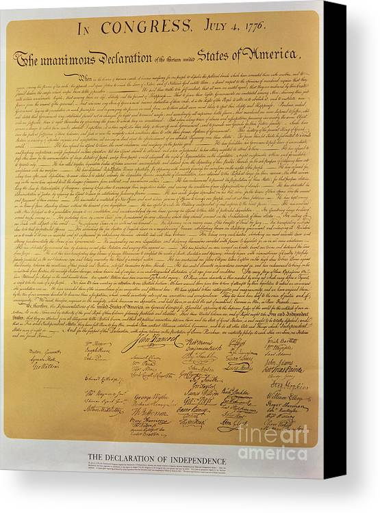 Declaration Canvas Print featuring the painting Declaration Of Independence by American School