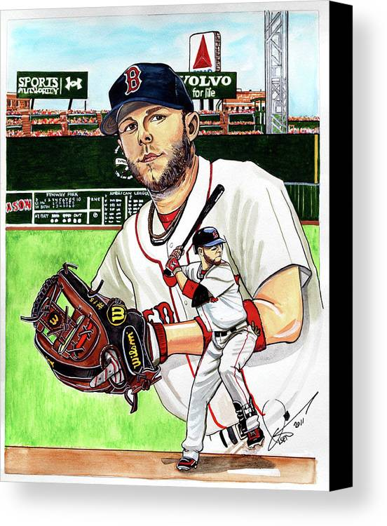 Dustin Pedroia Canvas Print featuring the painting Dustin Pedroia by Dave Olsen
