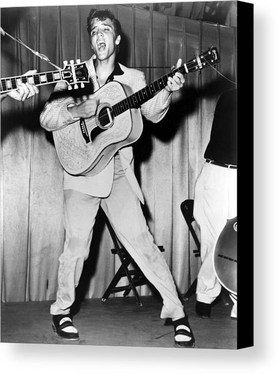 1950s Portraits Canvas Print featuring the photograph Elvis Presley, C. Mid-1950s by Everett
