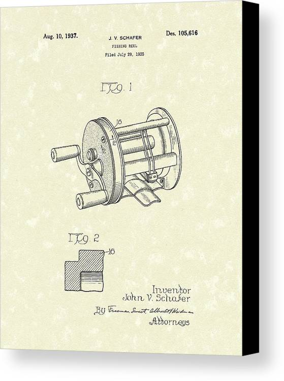 Fishing Canvas Print featuring the drawing Fishing Reel 1937 Patent Art by Prior Art Design