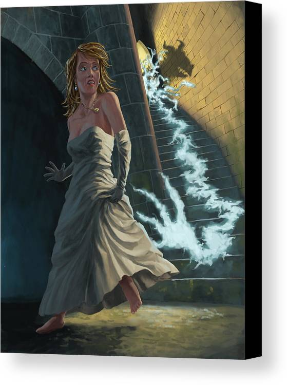 Princess Canvas Print featuring the painting Ghost Chasing Princess In Dark Dungeon by Martin Davey