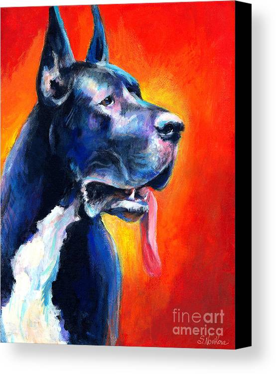 Black Great Dane Canvas Print featuring the painting Great Dane Dog Portrait by Svetlana Novikova
