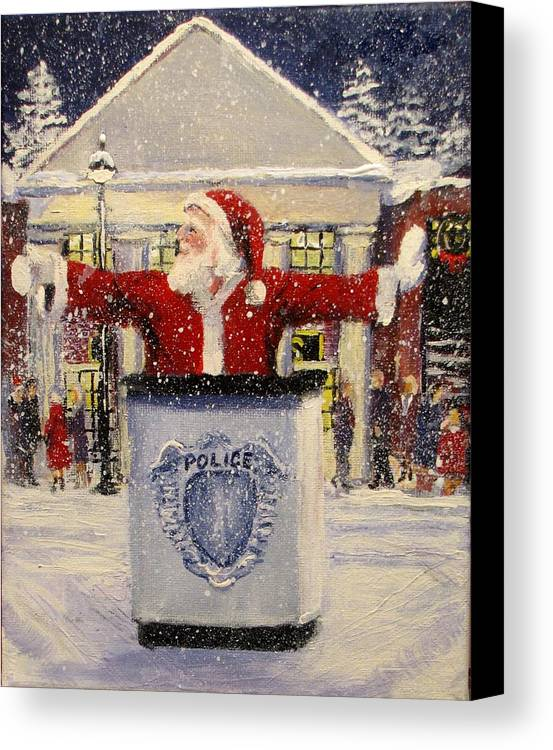 Santa Canvas Print featuring the painting Ho Ho Go... by Jack Skinner