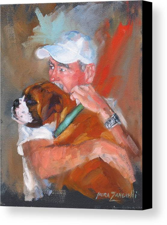 Oil Painting Canvas Print featuring the painting Loving Roxie by Laura Lee Zanghetti