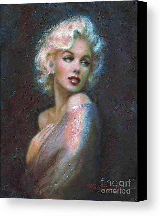 Marilyn Canvas Print featuring the painting Marilyn Romantic Ww Dark Blue by Theo Danella