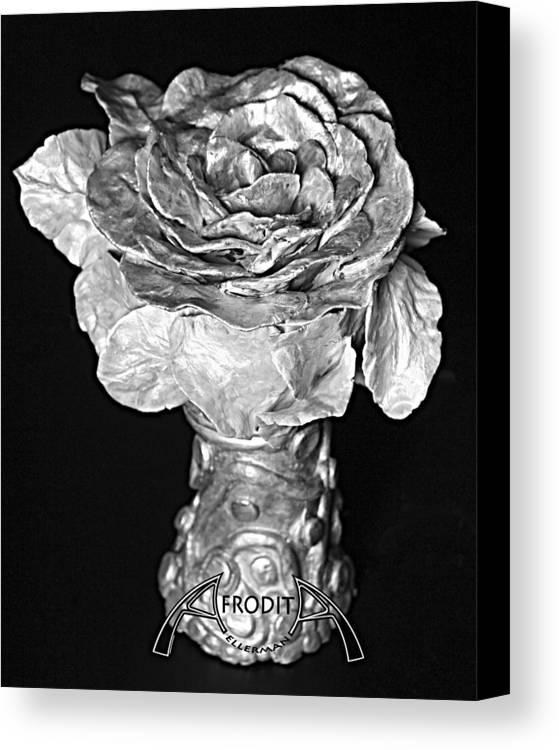 Flower Canvas Print featuring the ceramic art New Sculpture by Afrodita Ellerman