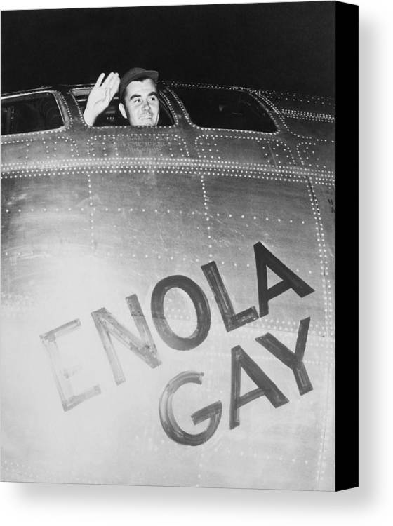 Paul Tibbets Canvas Print featuring the photograph Paul Tibbets In The Enola Gay by War Is Hell Store