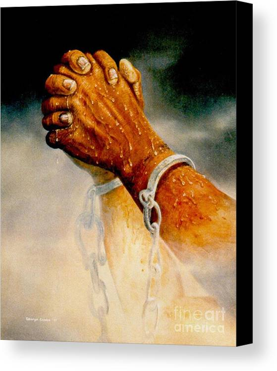 Blessing Canvas Print featuring the painting Praying Hands by George Combs