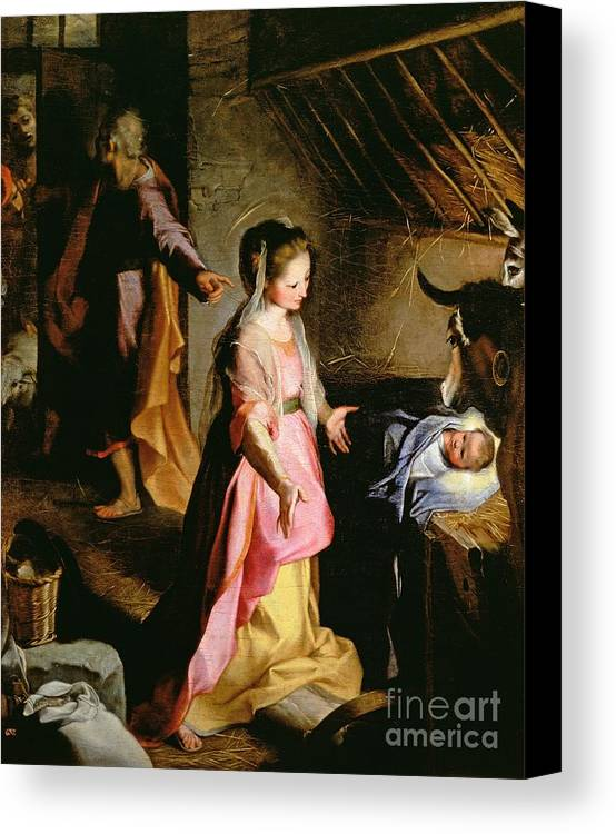 Nativity Canvas Print featuring the painting The Adoration Of The Child by Federico Fiori Barocci or Baroccio