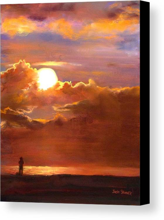 Sunset Canvas Print featuring the painting The Last Cast by Jack Skinner