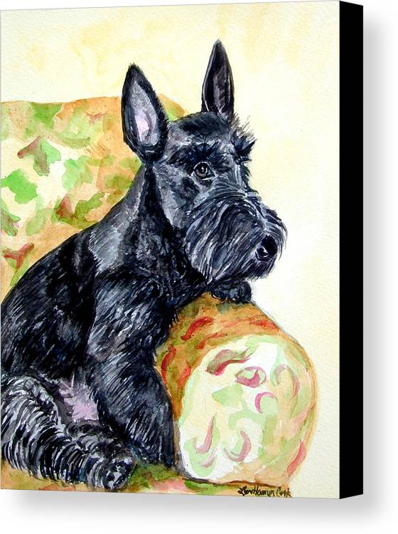 Scottish Terrier Canvas Print featuring the painting The Perfect Guest - Scottish Terrier by Lyn Cook