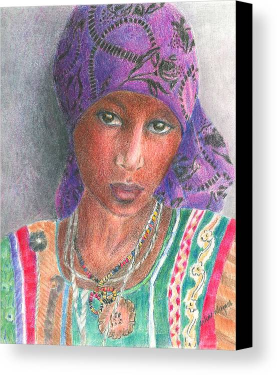 Purple Canvas Print featuring the drawing The Purple Scarf by Arline Wagner