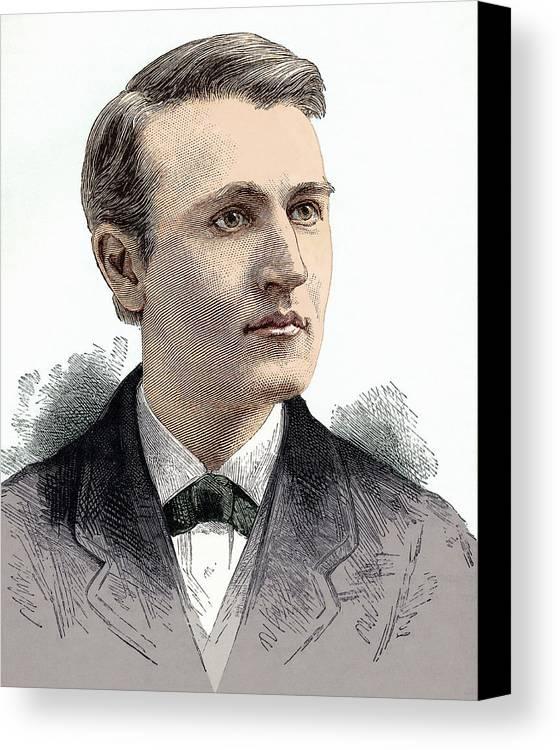 Thomas Alva Edison Canvas Print featuring the photograph Thomas Edison, American Inventor by Sheila Terry