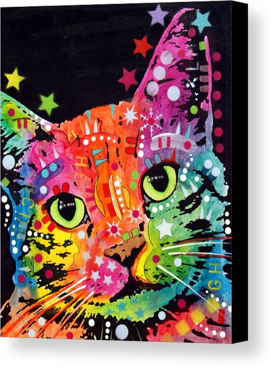 Dean Russo Canvas Print featuring the painting Tilted Cat Warpaint by Dean Russo