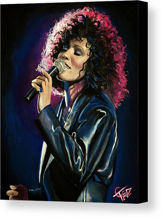 Whitney Houston Canvas Print featuring the painting Whitney Houston by Tom Carlton