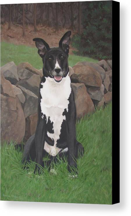 Black Dog Canvas Print featuring the painting Capone by Sandra Chase