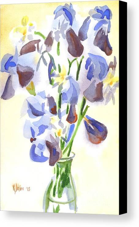 Irises Aglow Canvas Print featuring the painting Irises Aglow by Kip DeVore