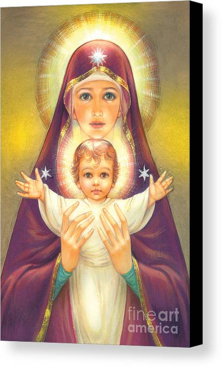 Mother Of God Canvas Print featuring the digital art Madonna And Baby Jesus by Zorina Baldescu