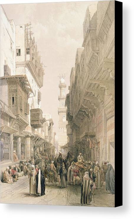 Street Canvas Print featuring the painting Mosque El Mooristan by David Roberts