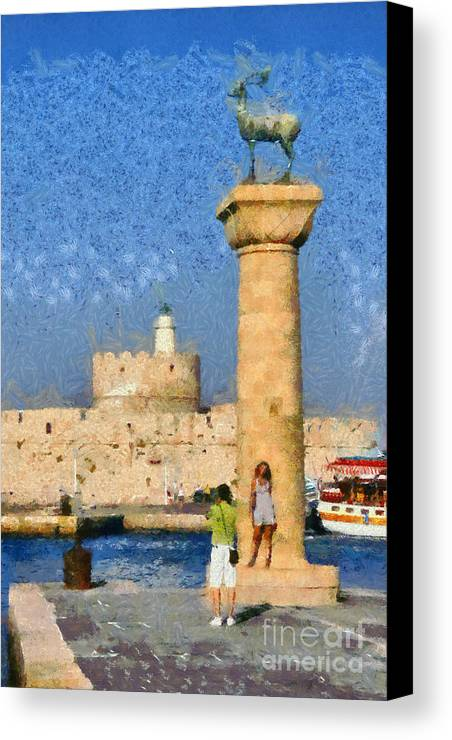 Rhodes Canvas Print featuring the painting Taking Pictures At The Entrance Of Mandraki Port by George Atsametakis