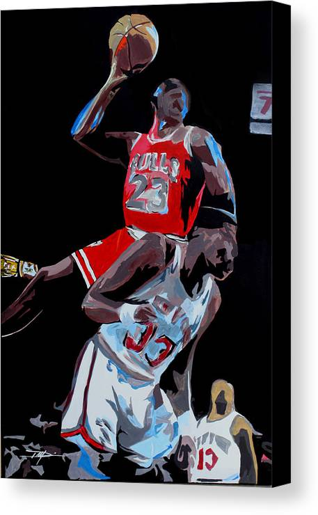 Michael Jordan Canvas Print featuring the drawing The Dunk by Don Medina