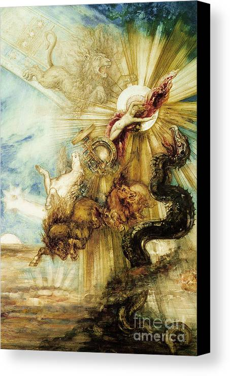 Symbolist; Greek; God; Chariot; Monster; Sun; Scorpio; Lion; Leo; Cabinet Des Dessins; Constellation; Zodiac; Youth; Terror; Phaeton; Son Of Helios; Drives Sun Chariot Too Close To Earth; Killed By Thunderbolt From Zeus To Prevent Disaster Canvas Print featuring the painting The Fall Of Phaethon by Gustave Moreau