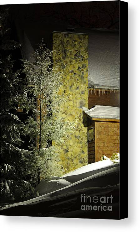 Snow Canvas Print featuring the photograph The Night Light by Lois Bryan