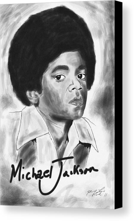 Young Michael Jackson Canvas Print featuring the drawing Young Michael Jackson by Pierre Louis
