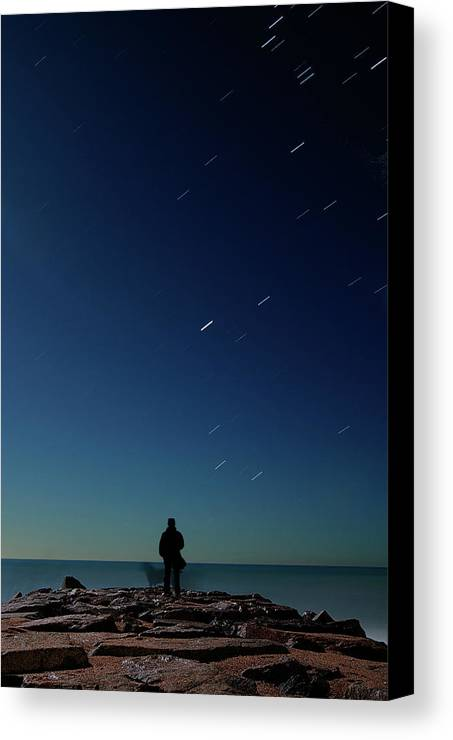 Adult Canvas Print featuring the photograph Man And Dog Watching Stars At Night by Jonatan Hernandez Photography