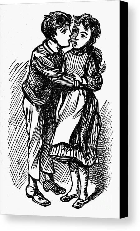 19th Century Canvas Print featuring the photograph Mother Goose: Kiss by Granger