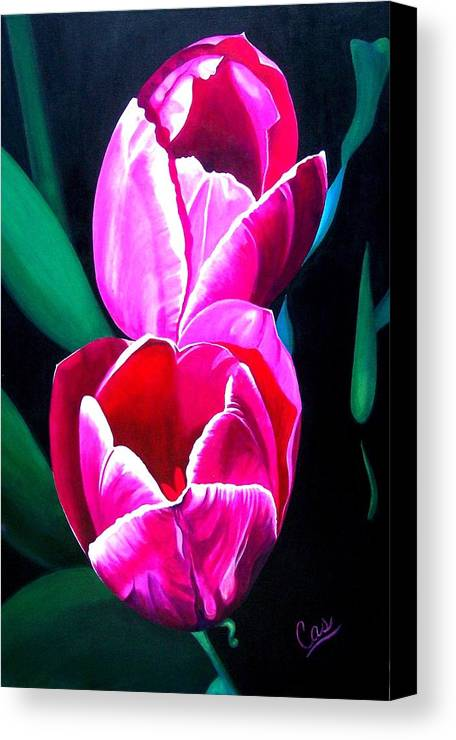 Tulips Canvas Print featuring the painting Tulips by Karen Casciani