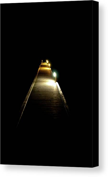 Jetty Canvas Print featuring the photograph Night Jetty by Andrew Dickman