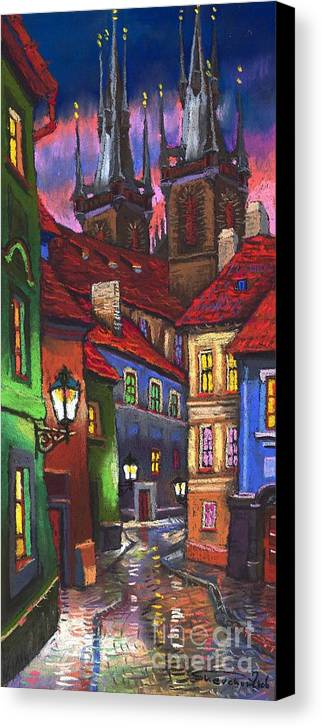 Pastel Canvas Print featuring the painting Prague Old Street 01 by Yuriy Shevchuk