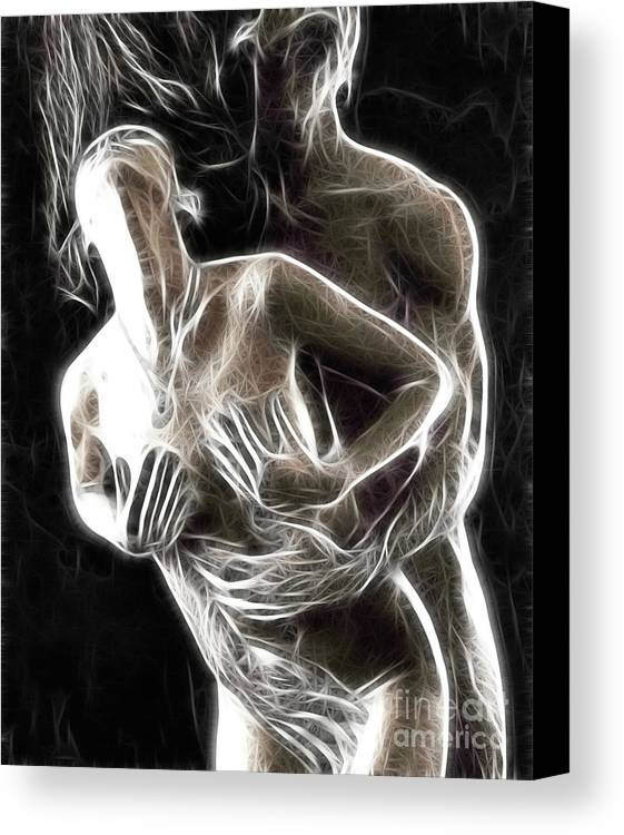 Sex Canvas Print featuring the photograph Abstract Digital Artwork Of A Couple Making Love by Oleksiy Maksymenko