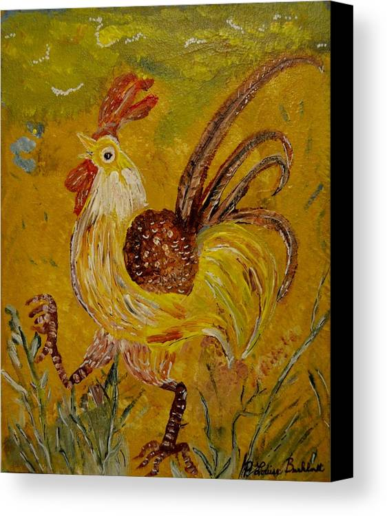 Chicken Canvas Print featuring the painting Crazy Chicken by Louise Burkhardt