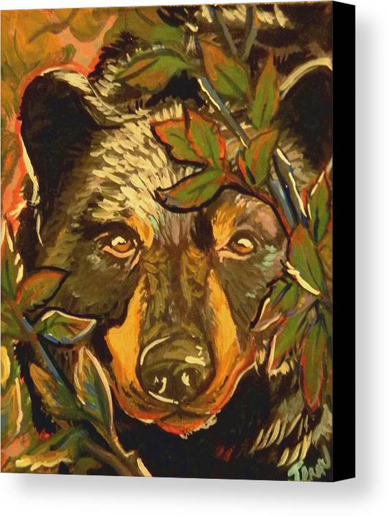 Black Bear Canvas Print featuring the painting Hiding Bear by Jenn Cunningham