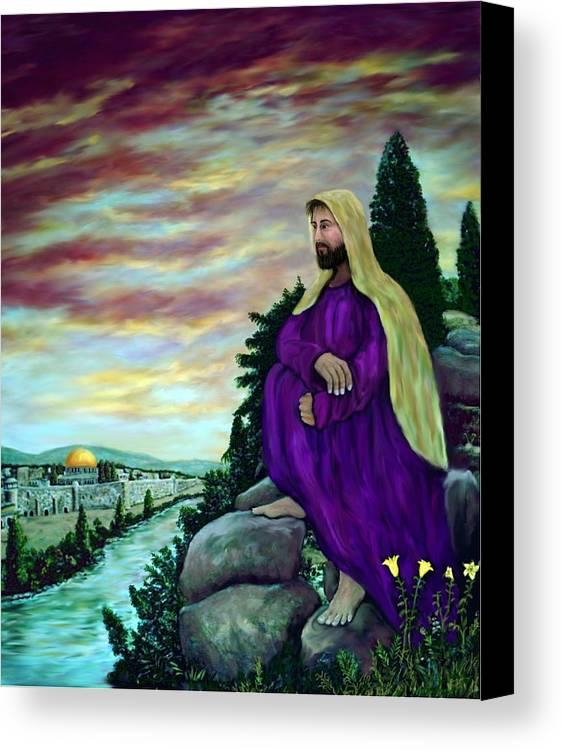 Jesus Canvas Print featuring the digital art Jesus Overlooking Jerusalem -1 by Ave Hurley