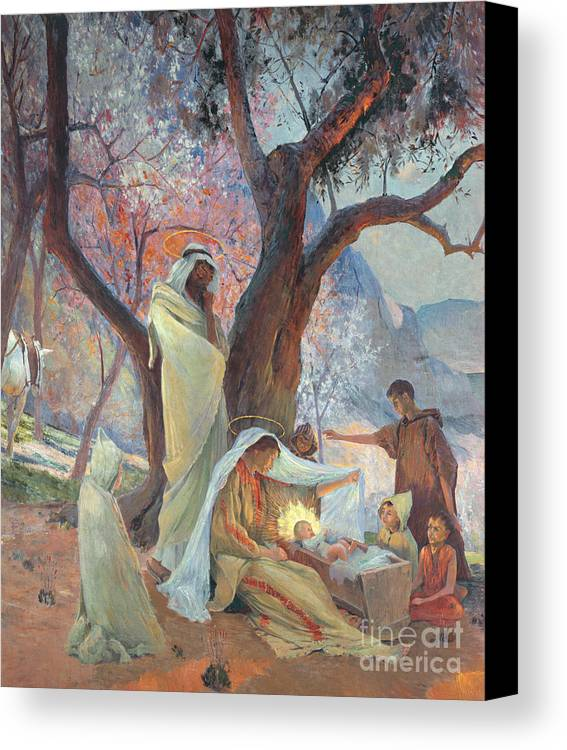 Jesus Christ Canvas Print featuring the painting Nativity by Frederic Montenard
