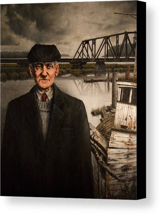 Old Canvas Print featuring the painting Repairman by Mark Zelmer
