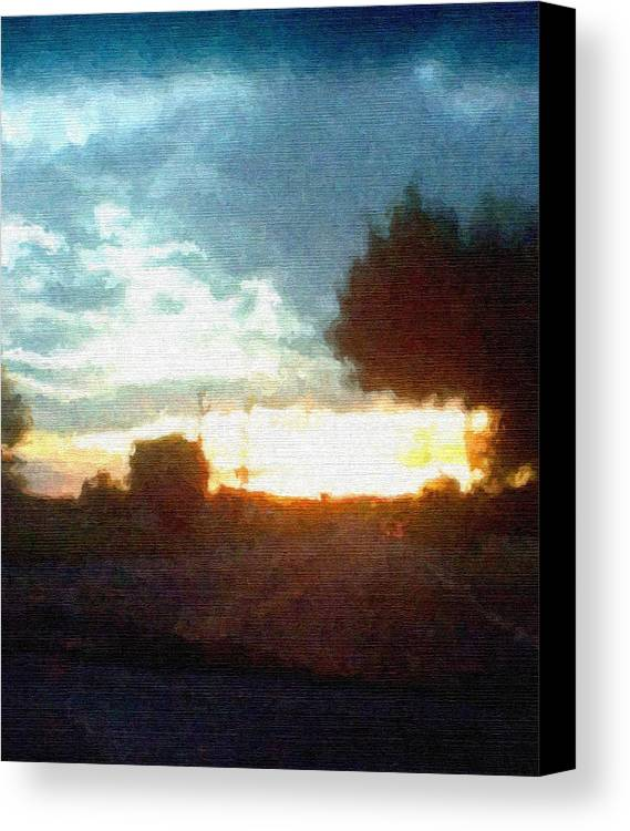 Abstract Sunset Canvas Print featuring the mixed media Second Sunset by Pharris Art