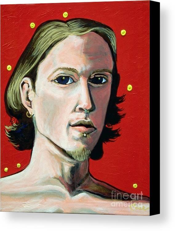 Artist's Self Portrait 1995 Canvas Print featuring the painting Self Portrait 1995 by Feile Case