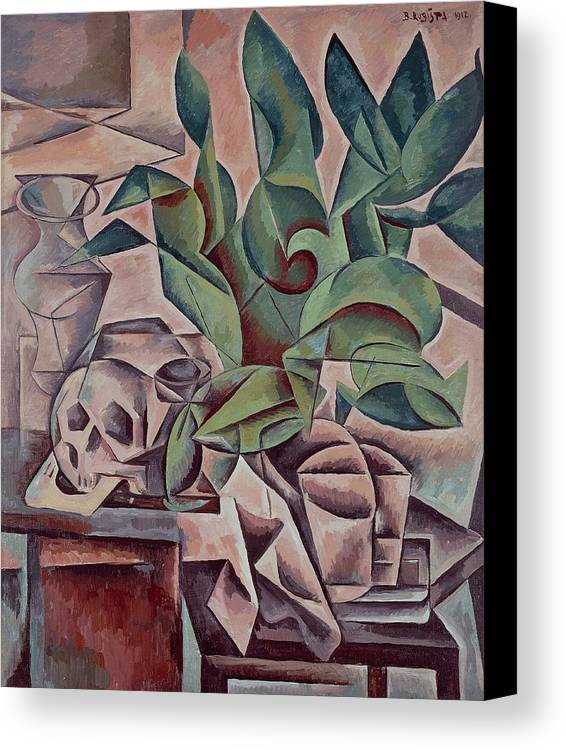 Art Canvas Print featuring the painting Still Life Showing Skull by Kubista Bohumil
