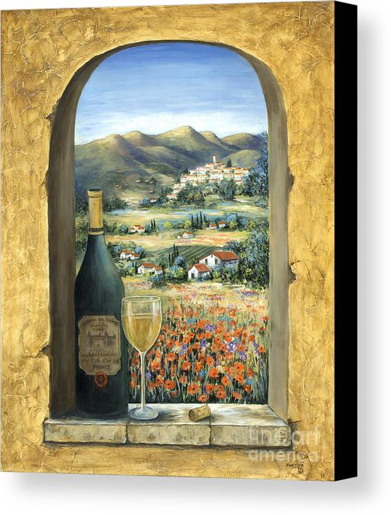 Wine Canvas Print featuring the painting Wine And Poppies by Marilyn Dunlap